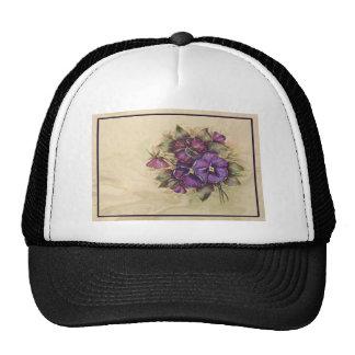 Hand Painted Purple Pansies Mesh Hat