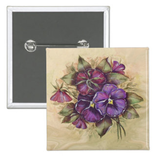 Hand Painted Purple Pansies Pinback Button