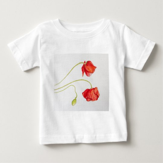 Hand painted red poppies flowers baby T-Shirt