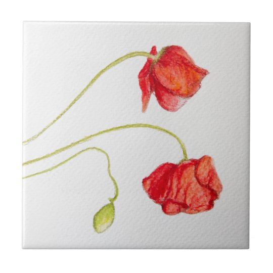 Hand painted red poppies flowers ceramic tile