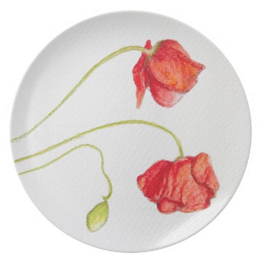 Hand Painted Poppies Plate