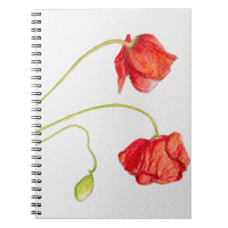 Hand painted red poppies flowers spiral note book