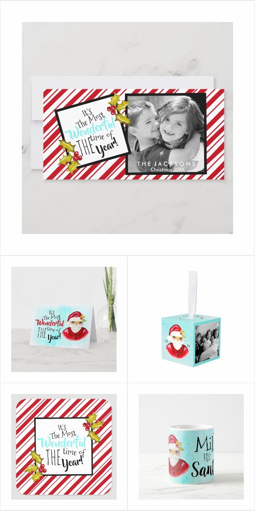 classic peppermint stripe christmas cards and decor