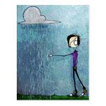 Hand painted Scene Emo Rain Postcard