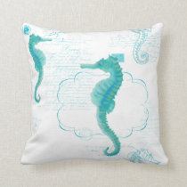 Hand Painted Seahorse Vintage Handwriting Scrolls Throw Pillow