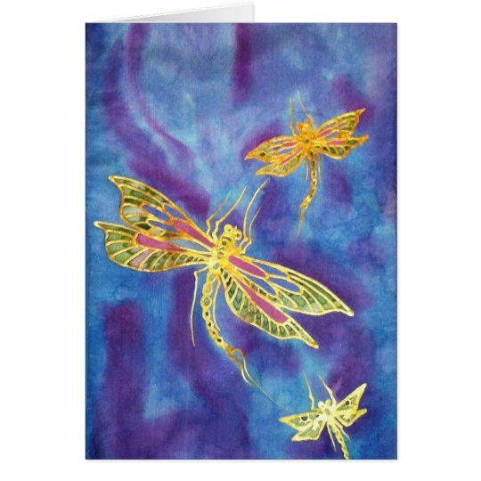 Hand Painted Silk Dragonfly Card