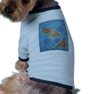 Hand Painted Silk Dragonfly Doggie Tshirt