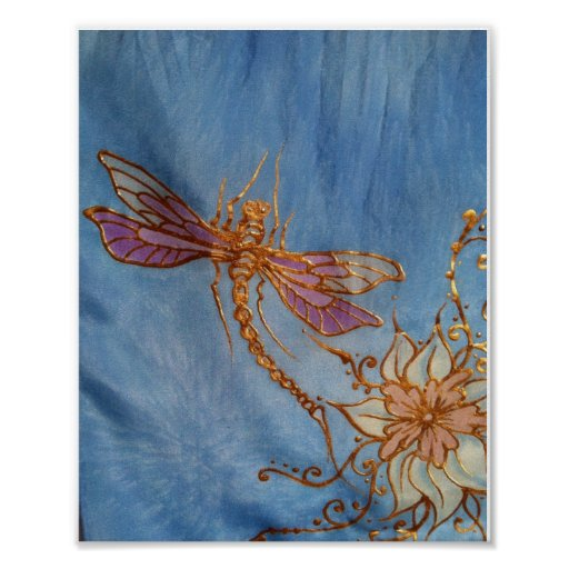 Hand Painted Silk Dragonfly Poster by Cyn Mc