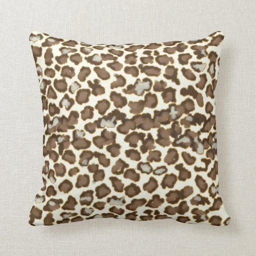 Real Animal Skin Pillows : Hand Painted Snow Leopard Animal Skin Print Brown Pillow Zazzle