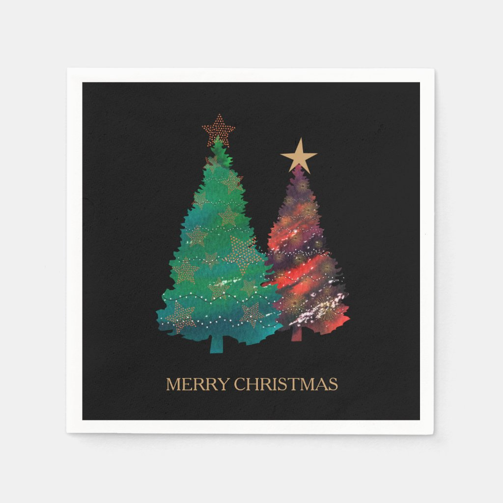 Hand Painted Sparkly Watercolor Christmas Tree Paper Napkin