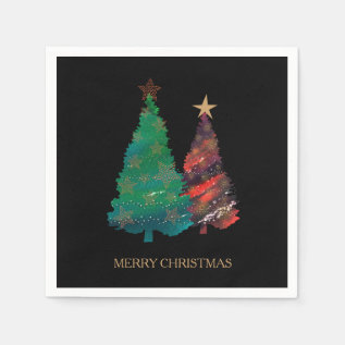 Hand Painted Sparkly Watercolor Christmas Tree Paper Napkin at Zazzle