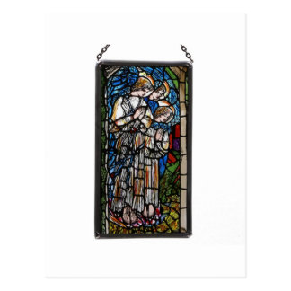 HAND PAINTED STAINED GLASS ANGELS. POSTCARD