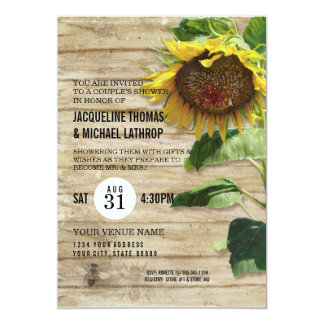 Hand Painted Sunflower Wooden Fence Bees Hive 5x7 Paper Invitation Card