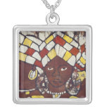 Hand painted textiles depicting every day silver plated necklace
