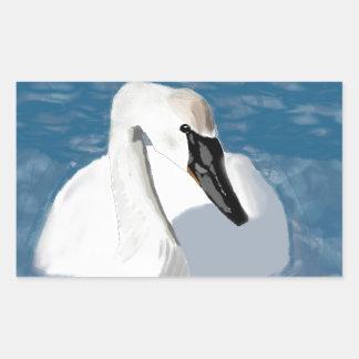 Hand Painted Trumpeter Swan Rectangular Sticker