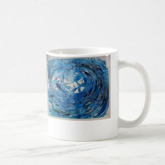 Hand painted tumbling surf wave with silvery fish coffee mug