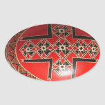 Hand painted Ukrainian Easter egg Oval Stickers