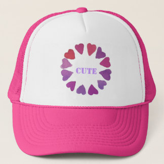 hand painted violet heart designs trucker hat
