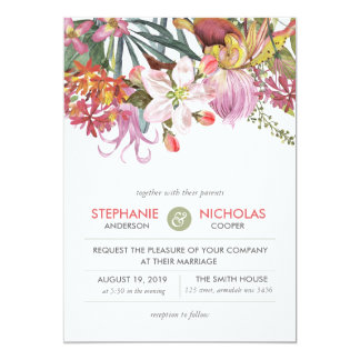 Hand painted water color exotic flower wedding card