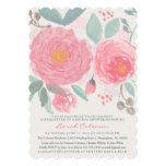 Hand painted watercolor bridal or baby shower 5x7 paper invitation card