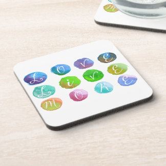 Hand-Painted Watercolor Circles Colorful Rainbow Beverage Coaster