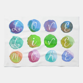 Hand-Painted Watercolor Circles Colorful Rainbow Kitchen Towels
