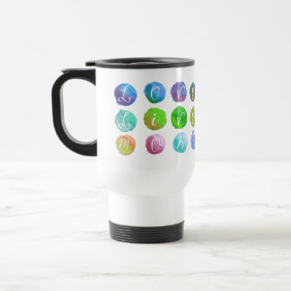 Hand-Painted Watercolor Circles Colorful Rainbow 15 Oz Stainless Steel Travel Mug