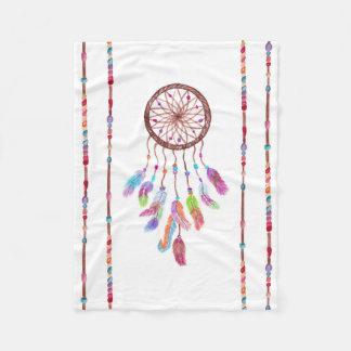Hand Painted Watercolor Dreamcatcher Beads Feather Fleece Blanket