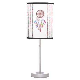 Hand Painted Watercolor Dreamcatcher Beads Feather Table Lamp