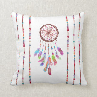 Hand Painted Watercolor Dreamcatcher Beads Feather Throw Pillow