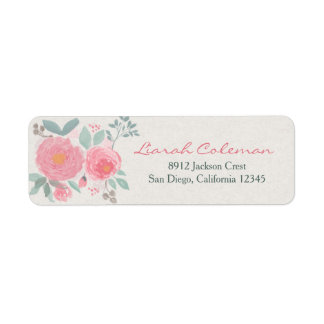Hand painted watercolor floral return address label