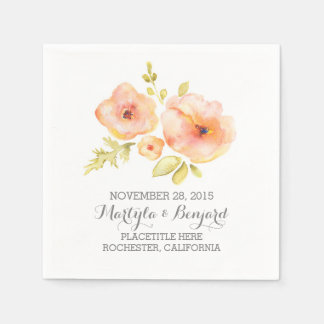 hand painted watercolor floral wedding disposable napkin