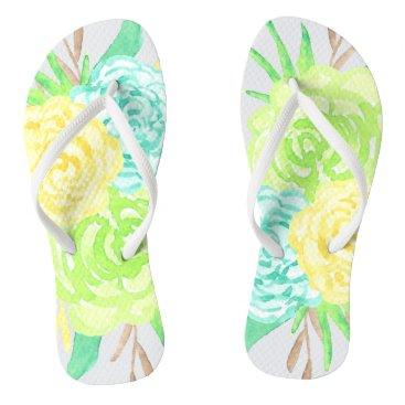 heartlocked Hand Painted Watercolor Flowers Flip Flops