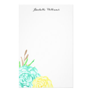 Hand Painted Watercolor Flowers Personalized Stationery