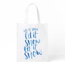 "Hand Painted Watercolor ""Let It Snow"" Reusable Bag"