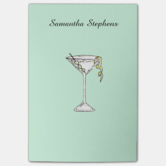 Hand Painted Watercolor Olive Martini Cocktail Post-it Notes
