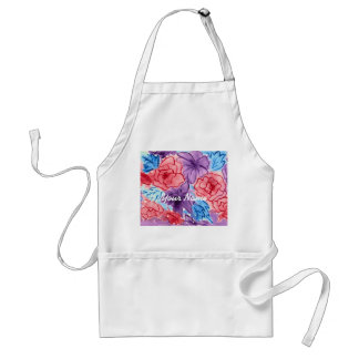 Hand-Painted Watercolor Red Roses Purple Clematis Adult Apron