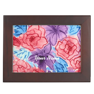 Hand-Painted Watercolor Red Roses Purple Clematis Keepsake Boxes