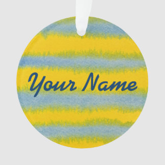 Hand-Painted Watercolor Stripes in Blue and Yellow