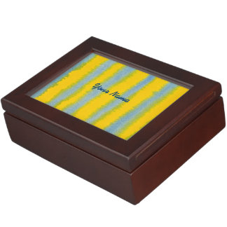 Hand-Painted Watercolor Stripes in Blue and Yellow Keepsake Box