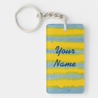 Hand-Painted Watercolor Stripes in Blue and Yellow Keychain