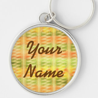Hand-Painted Watercolor Stripes Pomo Zigzag Tribal Keychains