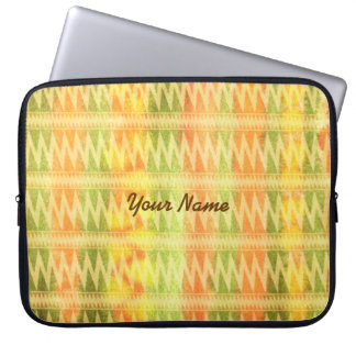 Hand-Painted Watercolor Stripes Pomo Zigzag Tribal Laptop Computer Sleeve
