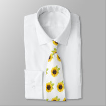 Hand Painted Watercolor Sunflower Pattern Neck Tie