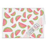 Hand painted watercolor watermelon fruits pattern card