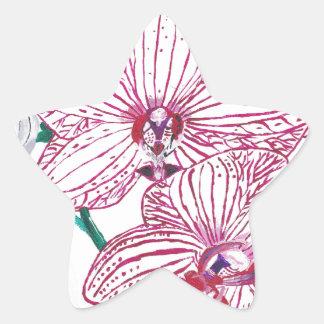 Hand Painted White Orchid design Original Star Sticker