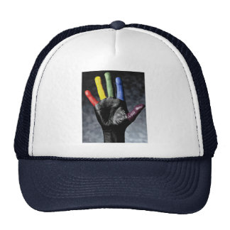 Hand painted with primary colors trucker hat