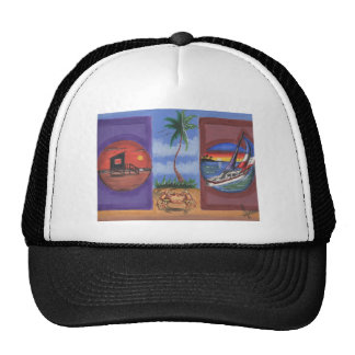 Hand paintings beach, sand, crabs, sail boat trucker hat