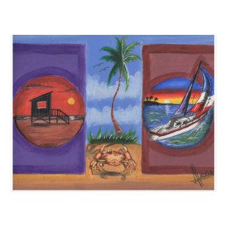Hand paintings beach, sand, crabs, sail boat postcard