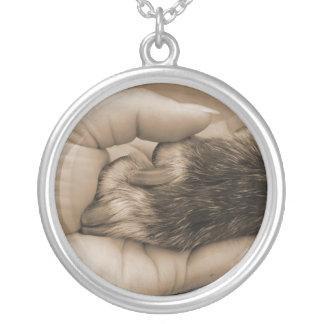 Hand & Paw Round Pendant Necklace